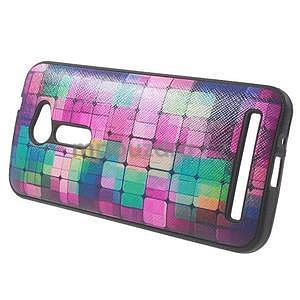 Gélový obal s imitáciou vrúbkované kože na Asus Zenfone 2 ZE500CL - mozaika farieb - 3