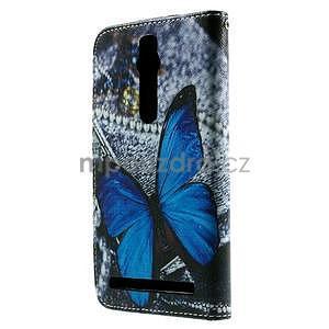 Zapínacie peňaženkové puzdro na Asus Zenfone 2 ZE551ML - modrý motýľ - 3