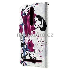 Zapínacie peňaženkové puzdro na Asus Zenfone 2 ZE551ML - kvetiny - 3