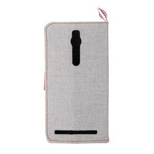 Šedé peňaženkové látkove / PU kožené puzdro pre Asus Zenfone 2 ZE551ML - 3