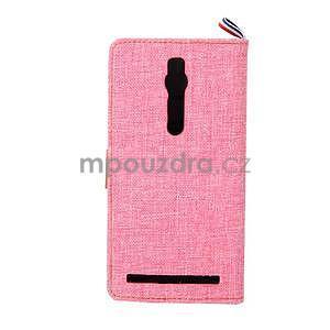 Ružové peňaženkové látkove / PU kožené puzdro pre Asus Zenfone 2 ZE551ML - 3