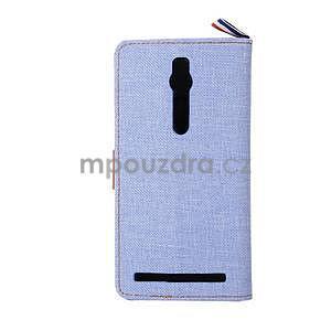 Svetlomodré peňaženkové látkove / PU kožené puzdro pre Asus Zenfone 2 ZE551ML - 3