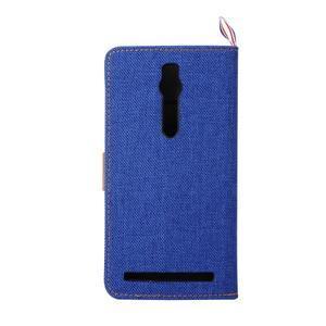 Modré peňaženkové látkove / PU kožené puzdro pre Asus Zenfone 2 ZE551ML - 3