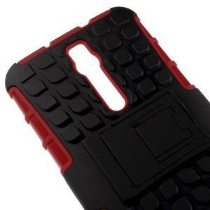 Vysoko odolný gélový kryt so stojanom pre Asus Zenefone 2 ZE551ML - červený - 3