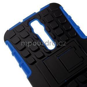 Vysoko odolný gélový kryt so stojanom pre Asus Zenefone 2 ZE551ML - modrý - 3