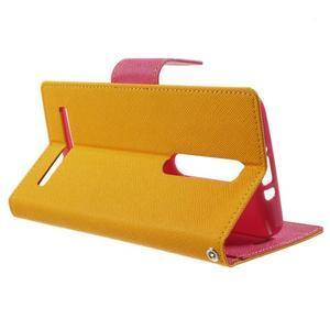 Zapínacie PU kožené puzdro na Asus Zenfone 2 ZE551ML - žlté - 3