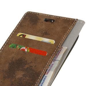 Vintage PU kožené puzdro na Asus Zenfone 4 Selfie Pro ZD552KL - hnedé - 3