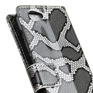 SnakeŠtýle PU kožené peňaženkové puzdro pre HTC One A9s - sivé - 3