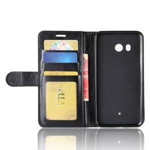 Crazy PU kožené peňaženkové puzdro na mobil HTC U11 - čierne - 3