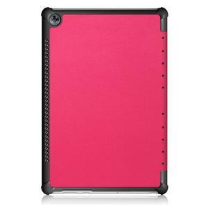 Trifold PU kožené polohovateľné puzdro na Huawei MediaPad M5 10 - rose - 3