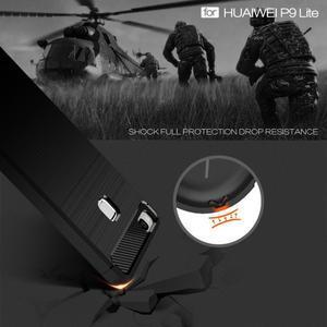 Carbo odolný gélový obal s brúseným zadným dielom na Huawei P9 Lite - červený - 3