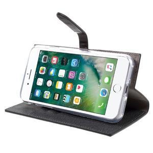 Fashions textilné peňaženkové puzdro pre iPhone 7 a iPhone 8 - čierne - 3