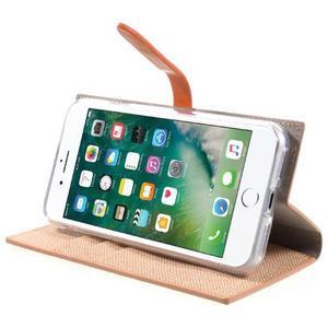 Fashions textilné peňaženkové puzdro pre iPhone 7 a iPhone 8 - oranžové - 3