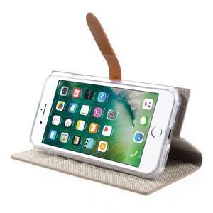 Fashions textilné peňaženkové puzdro pre iPhone 7 a iPhone 8 - khaki - 3