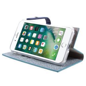 Fashions textilné peňaženkové puzdro pre iPhone 7 a iPhone 8 - modré - 3