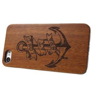 Woody drevený obal s plastovým držaním na iPhone 8 a iPhone 7 - kotva - 3