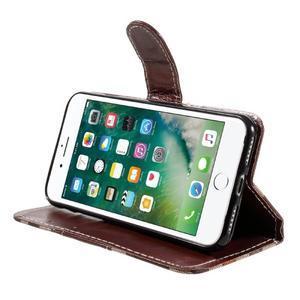 Fashion PU kožené puzdro pre iPhone 8 a iPhone 7 - hnedé - 3