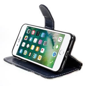 Fashion PU kožené puzdro pre iPhone 8 a iPhone 7 - modré - 3