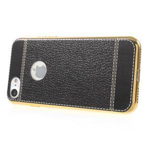 Luxusný gélový obal s PU koženým chrbtom na iPhone 8 a iPhone 7 - čierne - 3