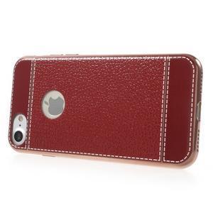 Luxusný gélový obal s PU koženým chrbtom na iPhone 8 a iPhone 7 - červené - 3
