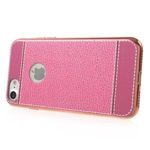 Luxusný gélový obal s PU koženým chrbtom na iPhone 8 a iPhone 7 - ružové - 3