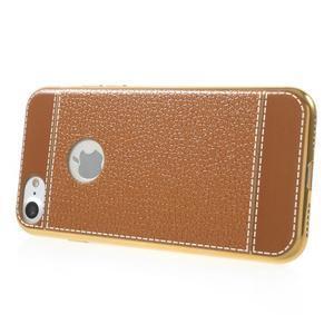 Luxusný gélový obal s PU koženým chrbtom na iPhone 8 a iPhone 7 - hnedé - 3