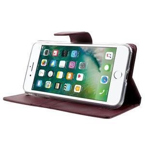 DiaryBravo PU kožené puzdro pre mobil iPhone 7 Plus a iPhone 8 Plus - vínové - 3