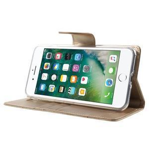 DiaryBravo PU kožené puzdro pre mobil iPhone 7 Plus a iPhone 8 Plus - zlaté - 3