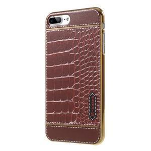 FashionStyle gélový obal s PU koženými chrbtom na iPhone 8 Plus a iPhone 7 Plus - krokodílej kože - 3