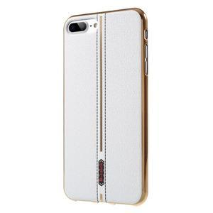 FashionStyle gélový obal s PU koženými chrbtom na iPhone 8 Plus a iPhone 7 Plus - white - 3