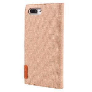 Fashions textilné peňaženkové puzdro pre iPhone 7 Plus a iPhone 8 Plus - oranžové - 3