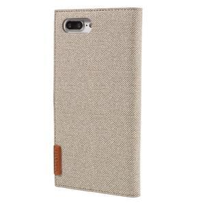 Fashions textilné peňaženkové puzdro pre iPhone 7 Plus a iPhone 8 Plus - khaki - 3