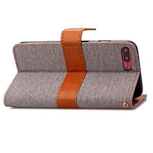 TexaCloth PU kožené/textilné puzdro pre iPhone 7 Plus a iPhone 8 Plus - sivé - 3