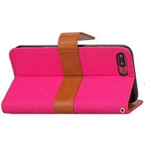 TexaCloth PU kožené/textilné puzdro pre iPhone 7 Plus a iPhone 8 Plus - rose - 3