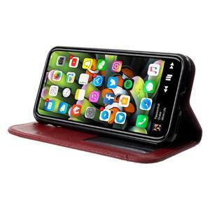 Retro style PU kožené puzdro na mobil iPhone X - červené - 3