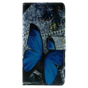 Peňaženkové PU kožené puzdro Lenovo Vibe X2 - Modrý motýľ - 3