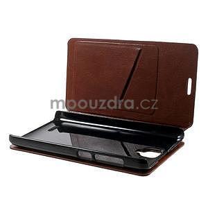 Peňaženkové kožené puzdro na Lenovo A536 - hnedé - 3