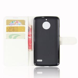 Grain PU kožené puzdro pre mobil Lenovo Moto E4 - biele - 3