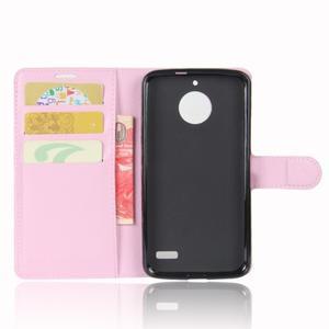 Grain PU kožené puzdro pre mobil Lenovo Moto E4 - ružové - 3