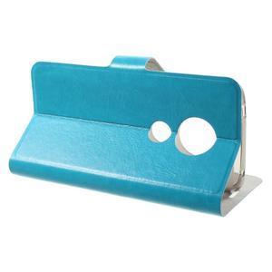 Horse PU kožené puzdro na mobil Motorola Moto G6 Play - modré - 3