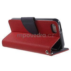 Dvojfarebné peňaženkové puzdro pre iPhone 5 a 5s - červené/tmavomodre - 3