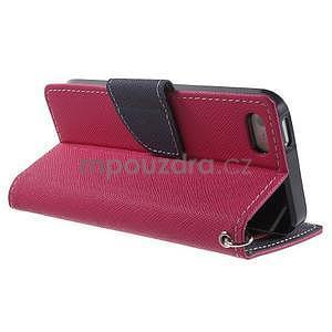 Dvojfarebné peňaženkové puzdro na iPhone 5 a 5s - rose/ tmavomodré - 3