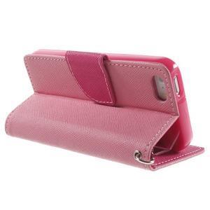 Dvojfarebné peňaženkové puzdro pre iPhone 5 a 5s - ružové/rose - 3