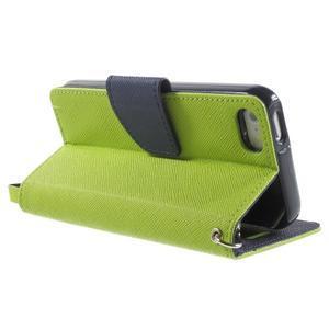 Dvojfarebné peňaženkové puzdro na iPhone 5 a 5s - zelené/ tmavomodré - 3