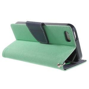 Dvojfarebné peňaženkové puzdro na iPhone 5 a 5s - azurové/ tmavomodré - 3