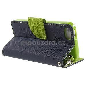 Dvojfarebné peňaženkové puzdro pre iPhone 5 a 5s - tmavomodre/zelené - 3