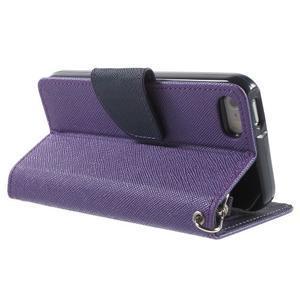 Dvojfarebné peňaženkové puzdro na iPhone 5 a 5s - fialové/tmavomodré - 3