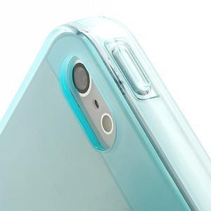 Gélový transparentný obal na iPhone 5 a 5s - svetlomodrý - 3