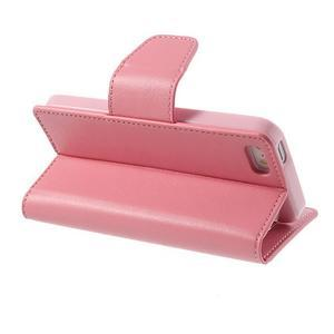 Peňaženkové koženkové puzdro na iPhone 5s a iPhone 5 - ružové - 3