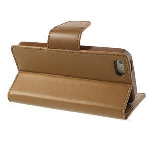 Peňaženkové koženkové puzdro pre iPhone 5s a iPhone 5 - coffee - 3